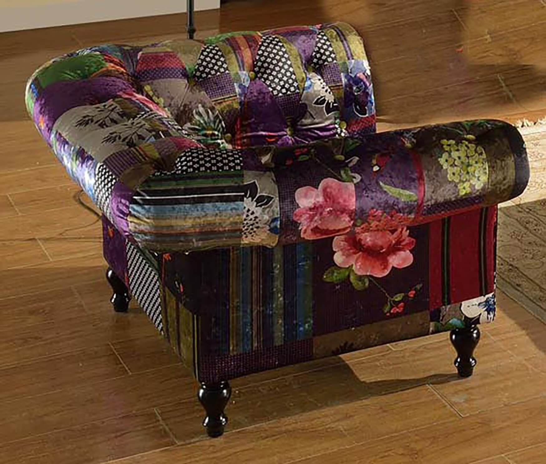 Fabric Patchwork Chesterfield 1 Seater Avici Scroll Sofa