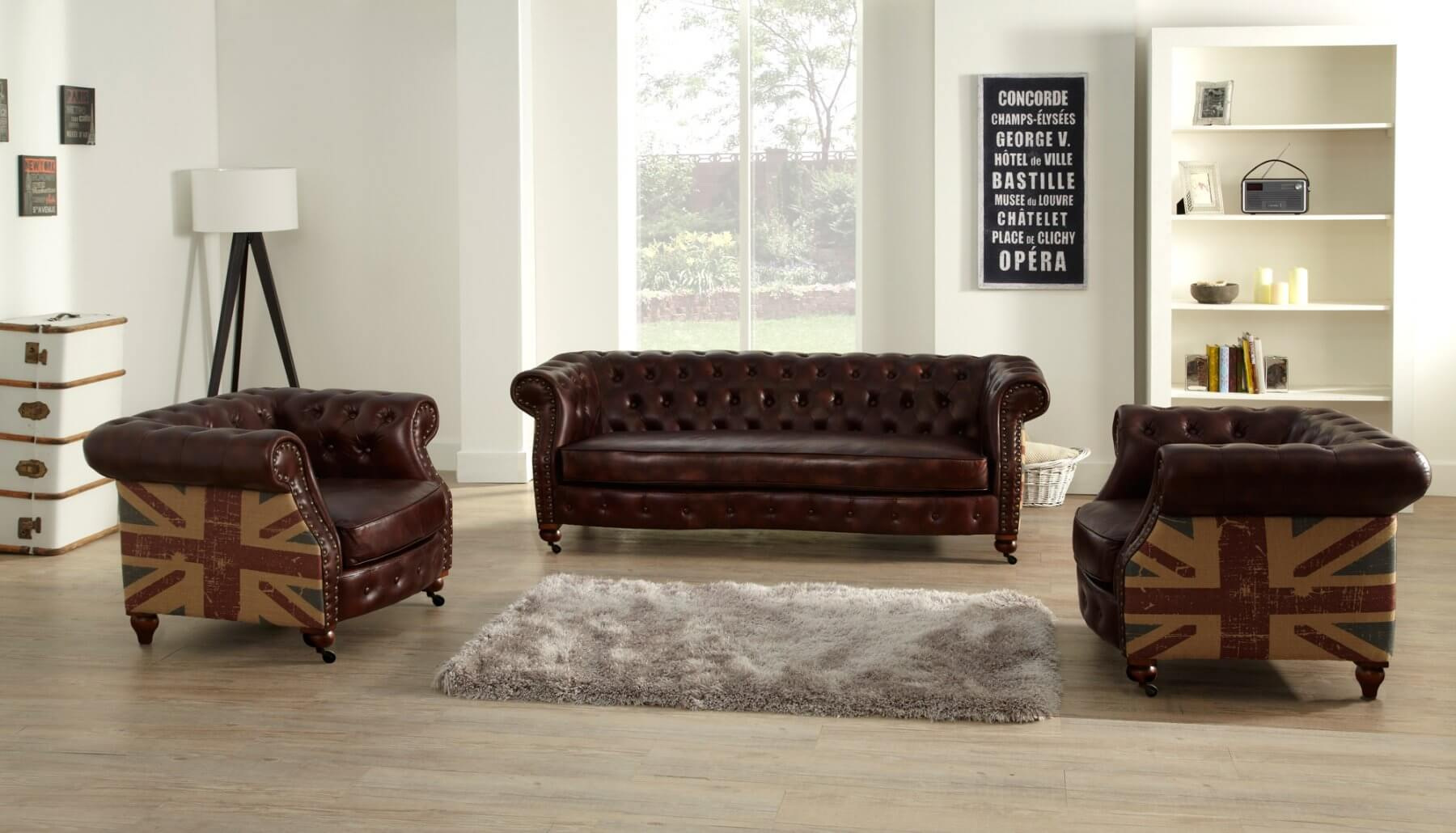 Leather Chesterfield Brown 3 + 1 + 1 Union Sofa Suite With Faded Flag