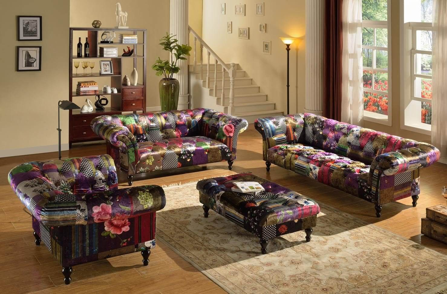 Anna Scroll Chesterfield 3 2 1 Luxury Fabric Patchwork Sofa Suite