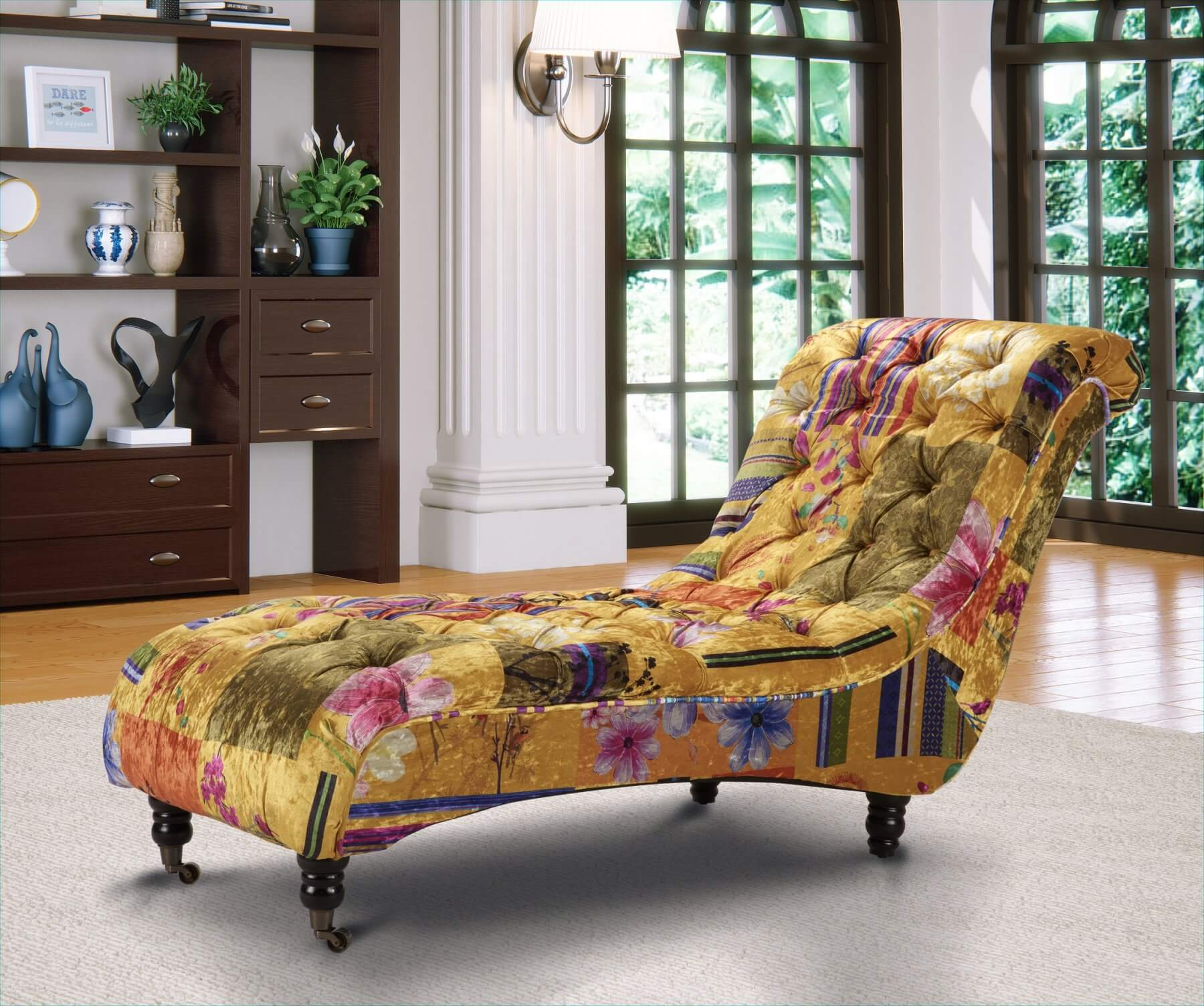 Avici Scroll Chesterfield Luxury Patchwork Fabric Chaise