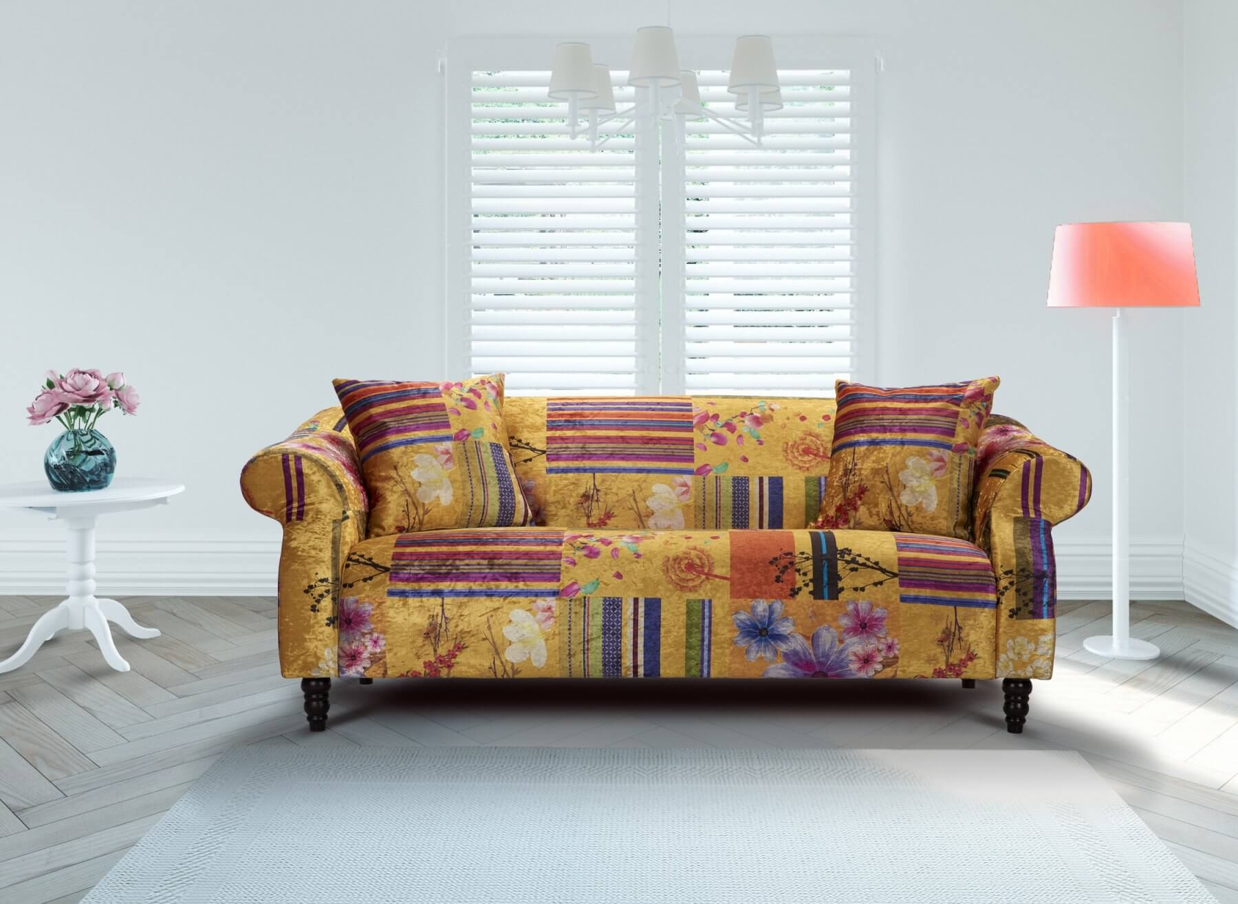 Fabric Gold Patchwork 3 Seater Avici Shout Sofa