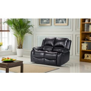 Leather Black 2 Seater Vancouver Recliner Sofa