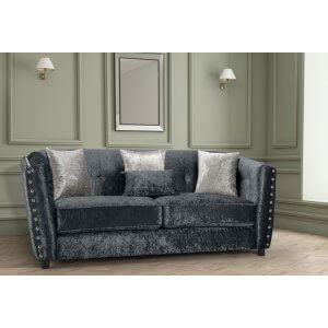 Crushed Velvet Black 3 Seater Imperia Sofa with Reversible Pillows