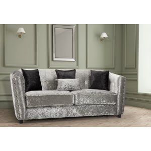 Crushed Velvet Silver 3 Seater Imperia Sofa with Reversible Pillows