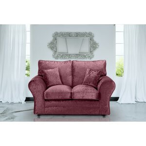 Crushed Velvet Mulberry 2 Seater Sophie Sofa With High Back