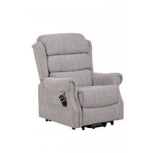 Fabric Beige Lincoln Dual Motor Recliner Petite Size