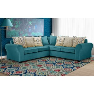 Velvet Teal / Turquoise 2c2 Corner Highgate Sofa With Accent Cushions