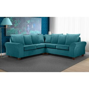 Velvet Teal / Turquoise 2c2 Corner Hampstead Sofa With Scatter Cushions
