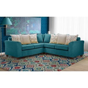 Velvet Teal / Turquoise 2c2 Corner Wimbledon Sofa With Accent Cushions
