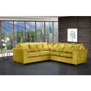 Crushed Velvet Gold 2c2 Corner Wimbledon Sofa With Scatter Cushions