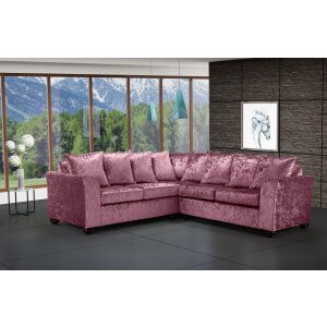 Crushed Velvet Mulberry 2c2 Corner Wimbledon Sofa With Scatter Cushions