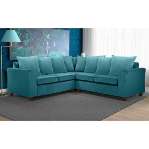 Velvet Teal / Turquoise 2c2 Corner Wimbledon Sofa With Scatter Cushions