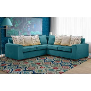 Velvet Teal / Turquoise 2c2 Corner Festival Sofa With Accent Cushions