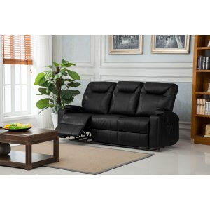 Leather Black 3 Seater Hollywood Recliner