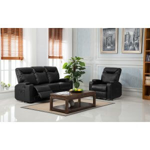 Leather Black 3 + 1 Hollywood Recliner Sofa Suite