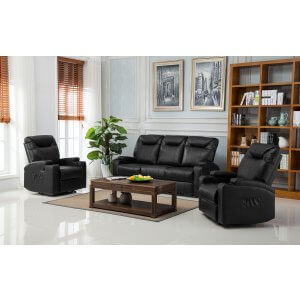 Leather Black 3 + 1 + 1 Hollywood Recliner Sofa Suite